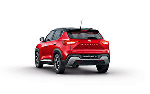 Обои Nissan Кроссовер Красных Металлик Сзади Белом фоне Magnite, India, 2021 автомобиль