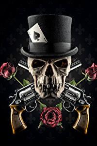 Картинка Черепа Розы Шляпа Черный фон Револьвер Фэнтези