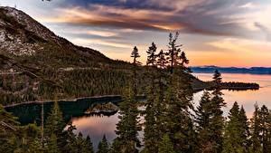 Фотографии Америка Озеро Лес Горы Рассветы и закаты Калифорнии Lake Tahoe, Sierra Nevada Природа