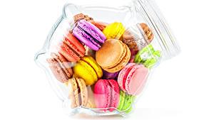 Картинки Белом фоне Банка Макарон Разноцветные Еда