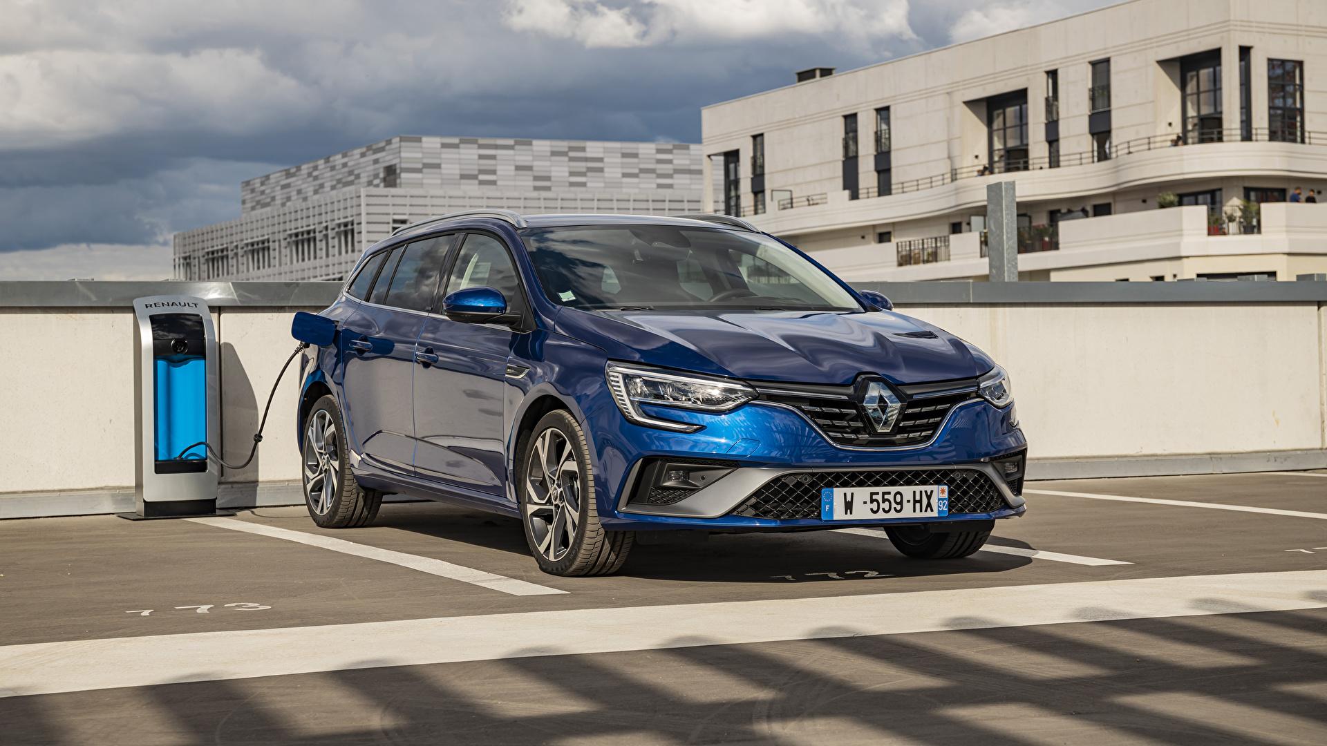 Картинки Renault 2020 Mégane E-TECH Plug-in Hybrid R.S. Line Estate Worldwide Парковка Гибридный автомобиль Синий машины Металлик 1920x1080 Рено паркинг стоянка парковке припаркованная синяя синие синих авто машина Автомобили автомобиль
