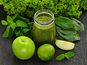 Фотография Яблоки Лайм Смузи Овощи Стакан Банка Пища
