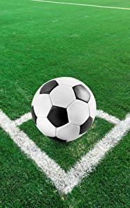 Картинки Футбол Газон Мяч спортивный