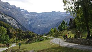Обои Франция Горы Дороги Деревья Gavarnie  Pyrenees Природа