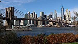 Обои Штаты Небоскребы Мосты Нью-Йорк Мегаполиса Brooklyn Города