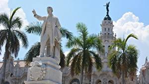 Фотография Куба Памятники Мужчины Пальмы Havana, monument to Jose Marti Города
