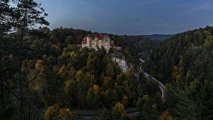 Фотография Германия Замки Леса Дороги Вечер Burg Rabenstein