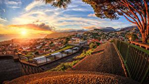 Фотография Португалия Рассветы и закаты Здания Ограда Облака Madeira Города