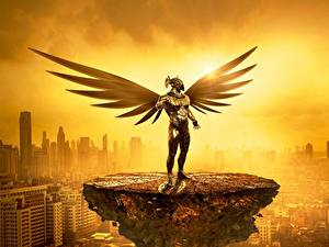 Картинки Ангел Небоскребы Рассветы и закаты Золотая Туман