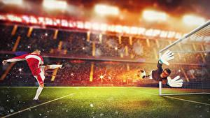 Фото Футбол Вратарь в футболе Мужчины Униформе Газон Руки Прыгать спортивная