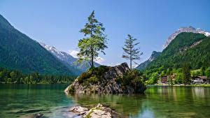 Обои Германия Гора Озеро Бавария Скале Деревья Berchtesgadener Land