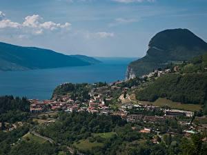 Фото Италия Озеро Сверху Lake Garda, Lago di Garda Города