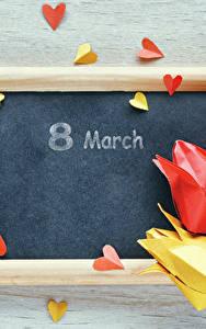 Фотография Международный женский день Праздники Тюльпаны Шаблон поздравительной открытки Серце Оригами Цветы