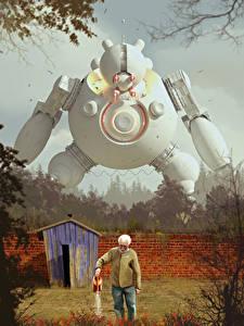 Фотографии Старый мужчина Ограда Роботы Фэнтези