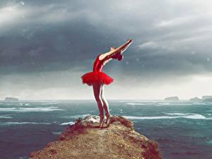 Фотография Утес Платье Танцует Рука Балета девушка
