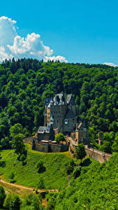 Картинка Германия Замок Лес Eltz Castle город