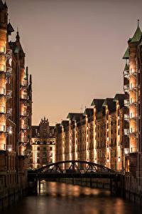 Фото Гамбург Германия Здания Реки Мосты Ночные Города