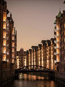 Фото Гамбург Германия Здания Реки Мост Ночные Города