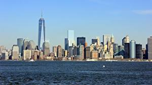 Обои Штаты Небоскребы Нью-Йорк Манхэттен Hudson город