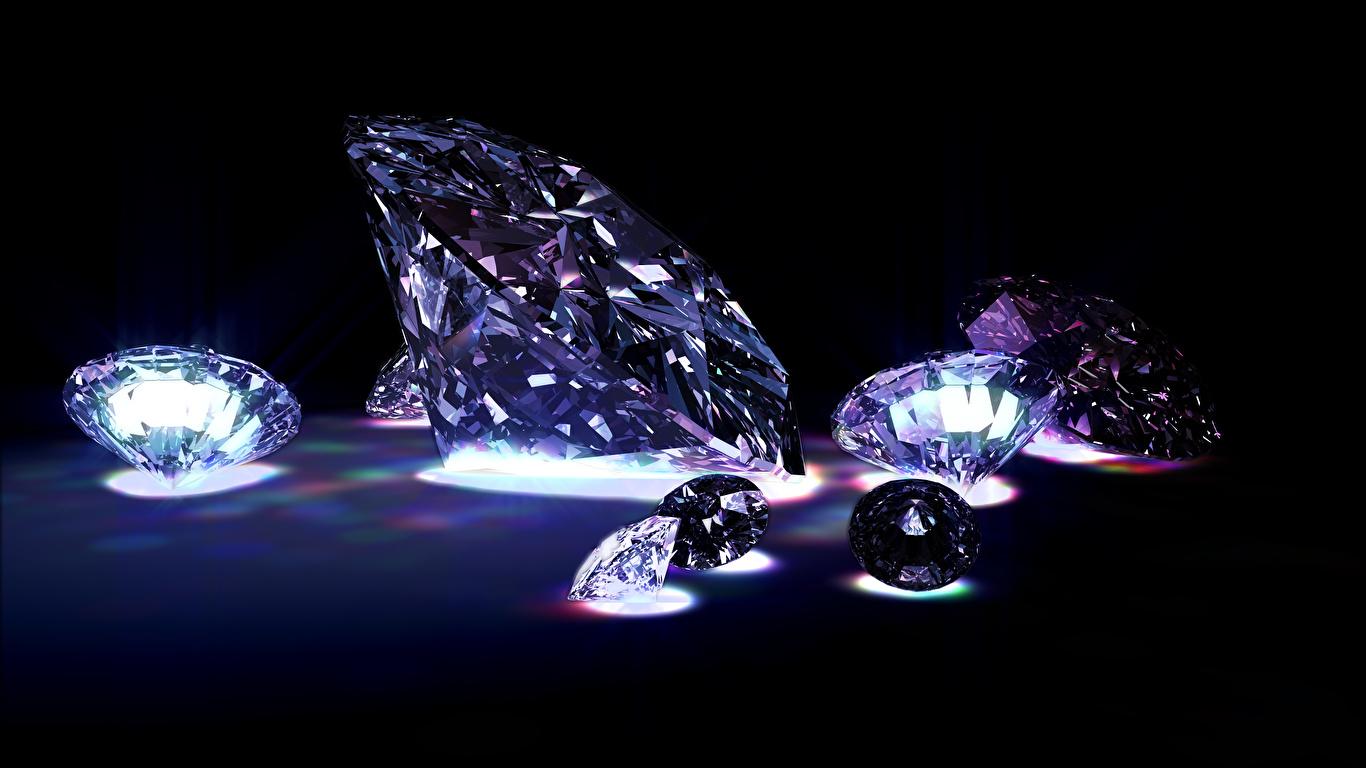 Фотографии Бриллиант на черном фоне 1366x768 алмаз обработанный Черный фон