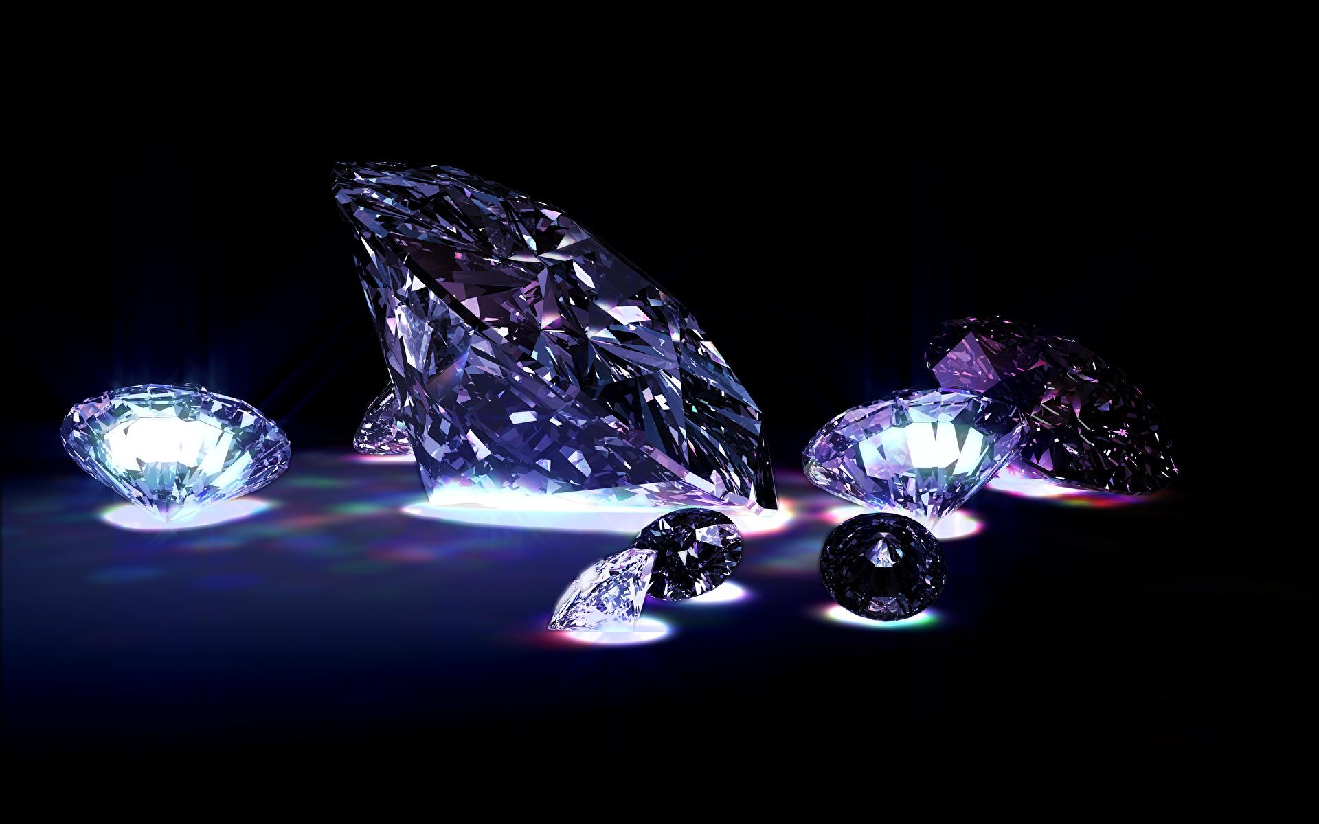 Фотографии Бриллиант Черный фон 1920x1200 алмаз обработанный
