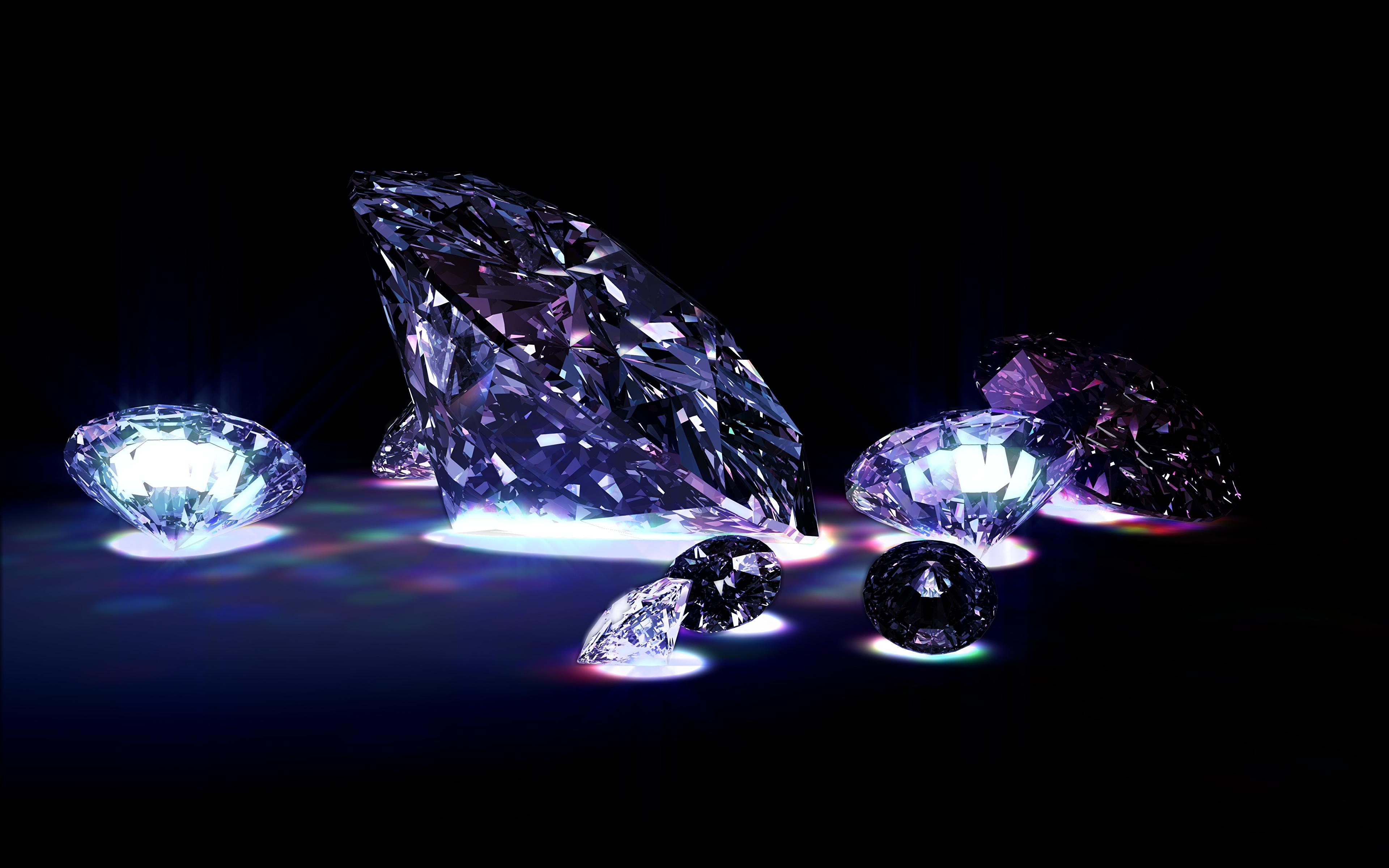 Фотографии Бриллиант Черный фон 3840x2400 алмаз обработанный
