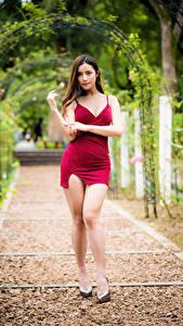 Картинка Азиатки Поза Ног Платье Смотрят молодая женщина