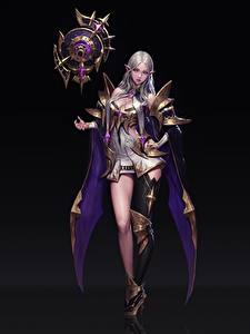 Фотографии Чародей Блондинки На черном фоне Красивые Sorceress Heewon Kang Astologist Фэнтези Девушки