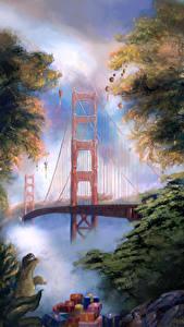 Фотографии Штаты Мосты Рождество Рисованные Сан-Франциско Подарки The Golden Gate Bridge Города