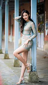 Фото Азиаты Боке Поза Ног Платья Шатенки Взгляд молодая женщина