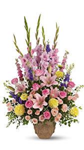 Картинки Букеты Розы Лилии Гладиолусы Георгины Белый фон Ваза Цветы