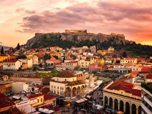 Фото Греция Здания Руины Рассветы и закаты Attica город