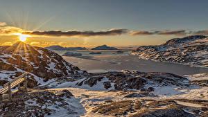 Фотография Гренландия Гора Рассвет и закат Пейзаж Снега Залив Солнца Природа