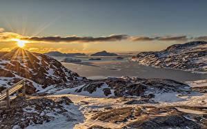 Фотография Гренландия Гора Рассвет и закат Пейзаж Снега Залив Солнца