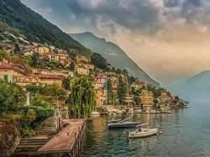 Фотография Италия Здания Озеро Пирсы Горы Побережье Moltrasio Como Lake город