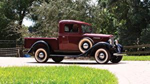 Картинки Ретро Бордовая Металлик Пикап кузов 1934 International C-1 Pickup Автомобили