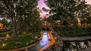 Картинка Штаты Диснейленд Парки Вечер Калифорния Анахайм Дизайн HDR Деревья Водный канал Природа