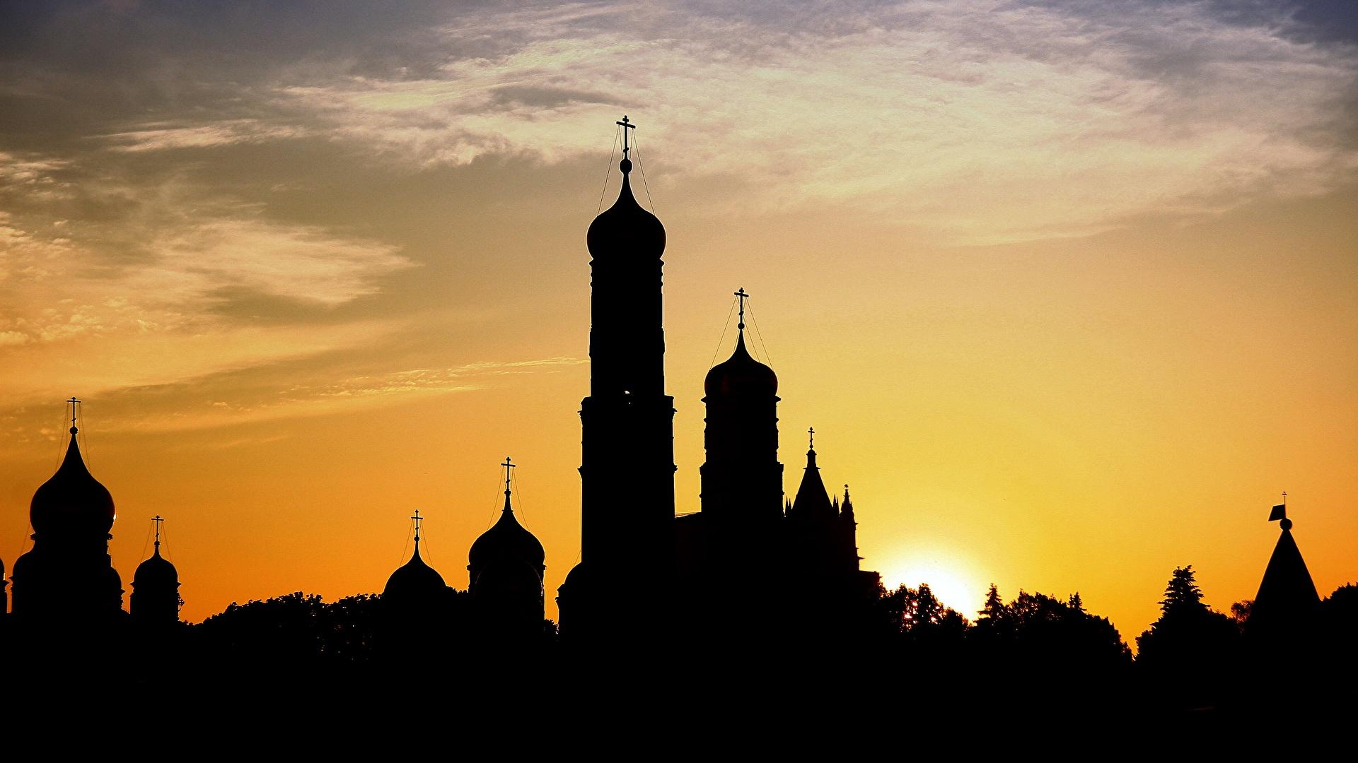 Фотография Церковь силуэта Купол рассвет и закат Города 1920x1080 Силуэт силуэты купола Рассветы и закаты город