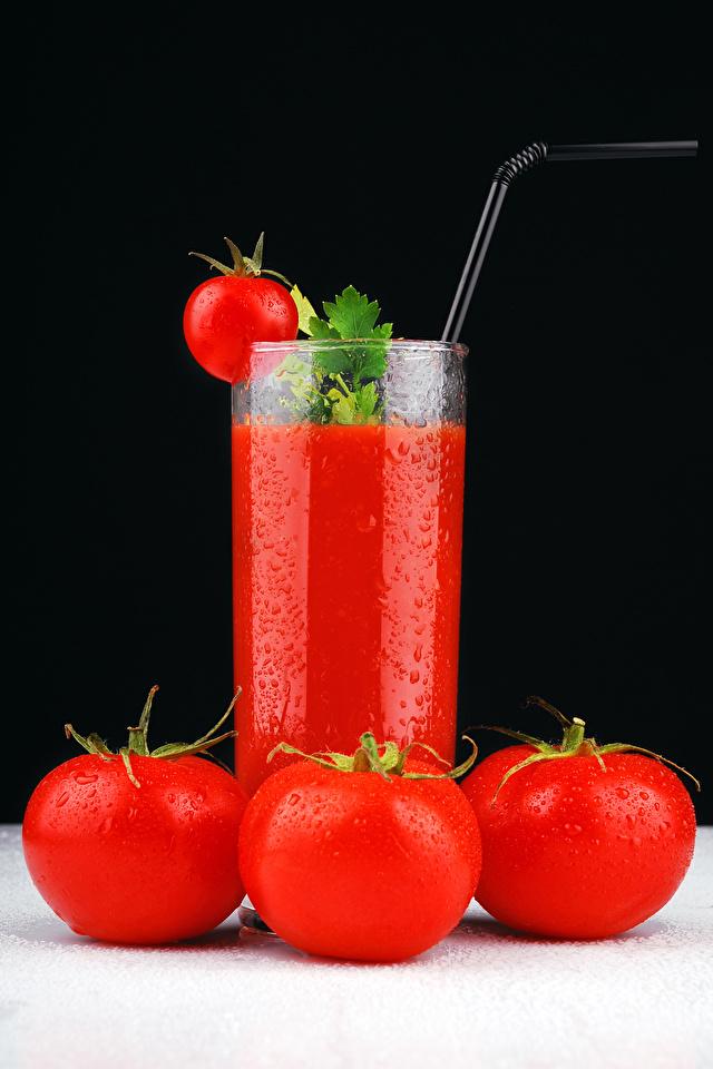 Фото Сок Томаты стакана Еда 640x960 Помидоры Стакан стакане Пища Продукты питания