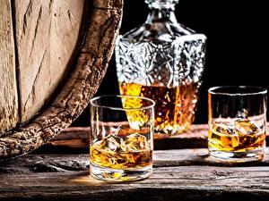 Фотографии Алкогольные напитки Виски Стакане Лед Пища
