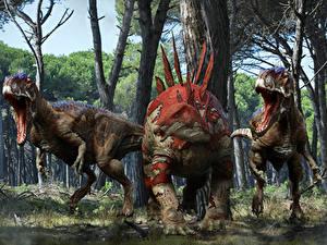 Фотография Древние животные Динозавры Злость Stegosaurus Животные 3D_Графика