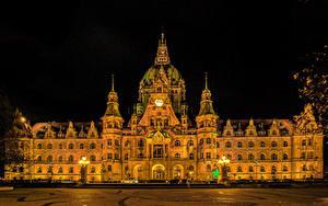 Фото Германия Дома Дизайн В ночи Уличные фонари Rathaus Hannover Города