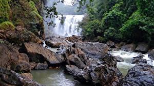 Картинка Камень Речка Водопады Индия Sathodi Waterfall, Kali Gandaki River