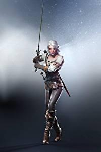 Картинка Воители Ведьмак 3: Дикая Охота Цирилла Мечи Поза Блондинка Игры Девушки Фэнтези