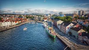 Обои Норвегия Причалы Здания Корабли Stavanger