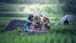 Картинка Камень Азиаты Скаут Униформе Траве Три Шляпа Мальчишки ребёнок
