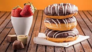 Обои Пончики Шоколад Клубника Конфеты