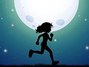 Обои для рабочего стола Луны Силуэт Бежит Девочка Ночь ребёнок