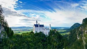 Фотография Нойшванштайн Горы Леса Замки Германия Скалы Бавария город
