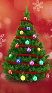 Картинки Рождество Новогодняя ёлка Шарики Снежинки